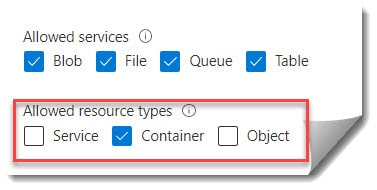 Generate sas and connection string greyed out