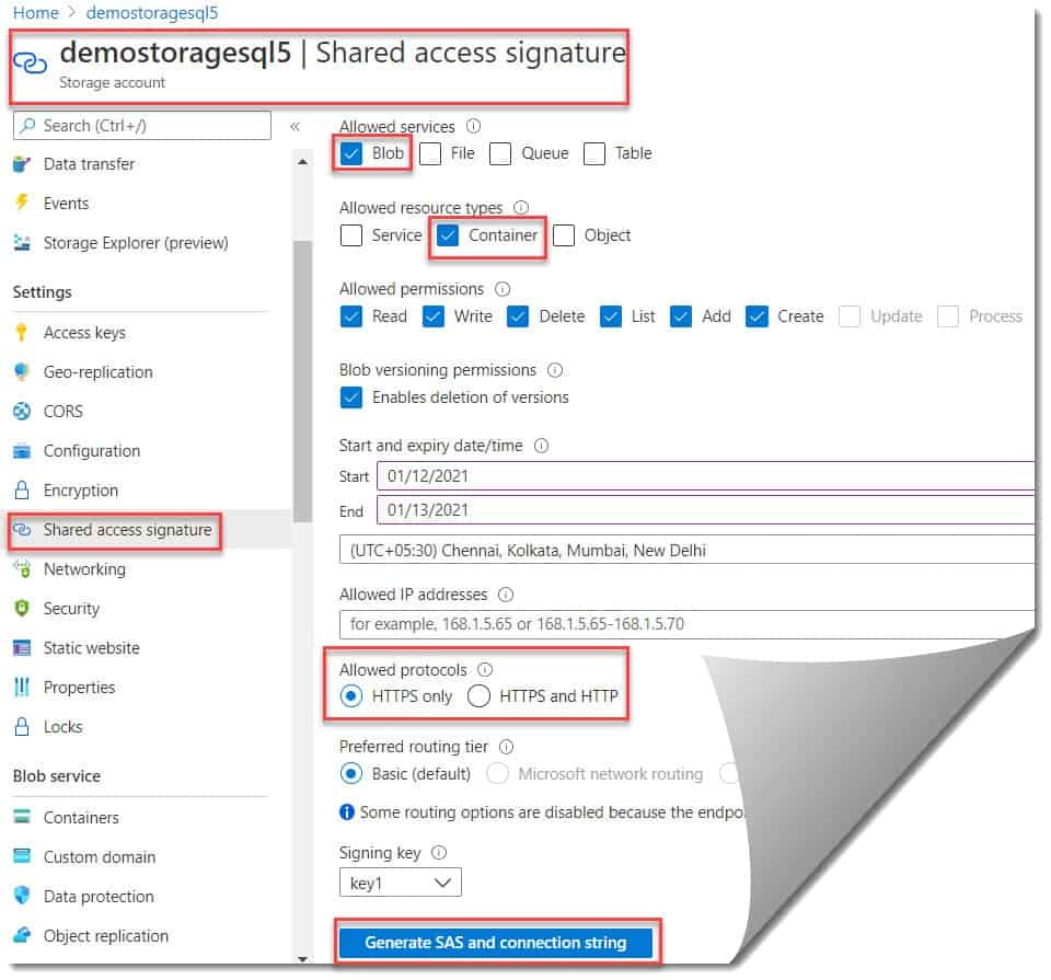 How to connect and perform a SQL Server database restore from Azure BLOB storage