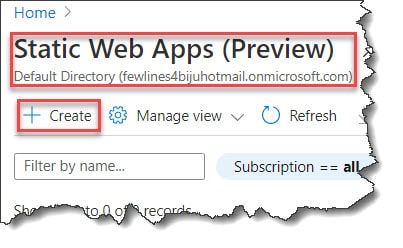 How to create static web apps using Azure Portal