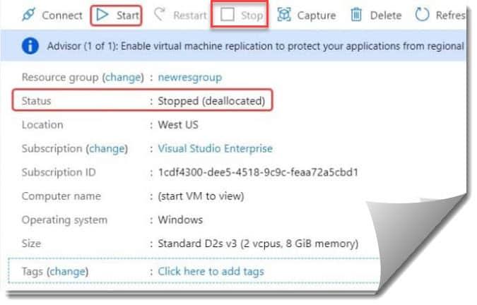 Azure VM Restart VS Stop