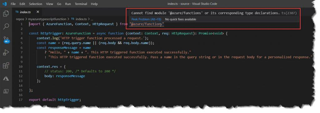 Cannot Find Module 'azure functions or its Corresponding Type Declarations