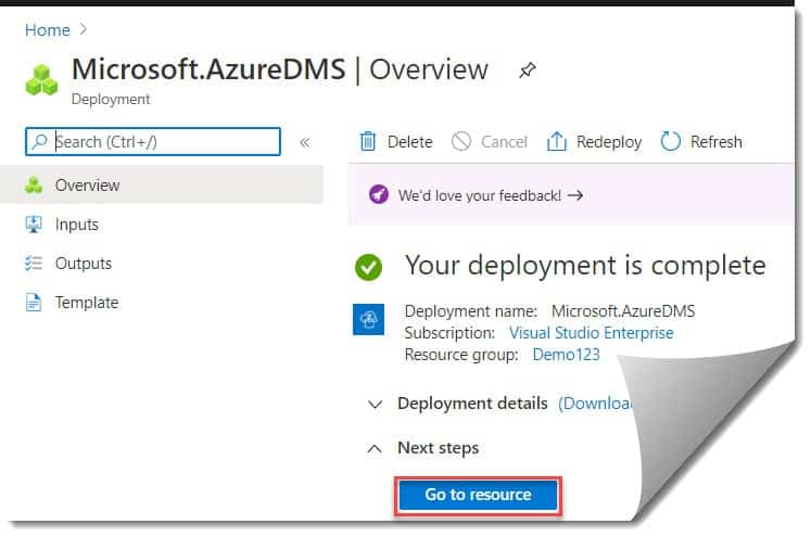 Create Azure Database Migration Services