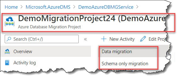 Create a New activity in Azure Portal