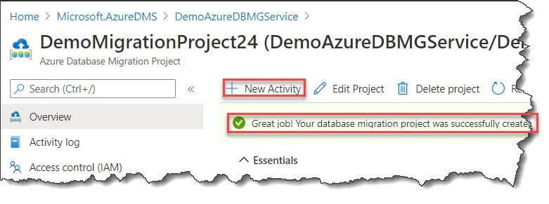 Create a New activity using Azure Portal