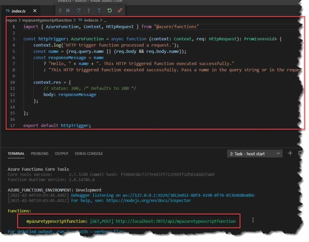 Creating a function in Azure with TypeScript using Visual Studio Code