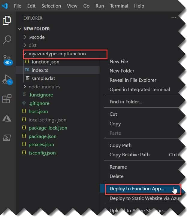 Deploy Typescript Azure Function To Azure from Visual Studio Code