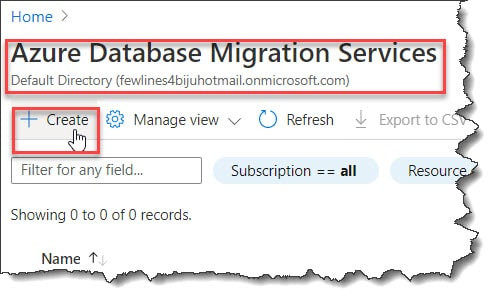 How To Create Azure Database Migration Services AzurePortal