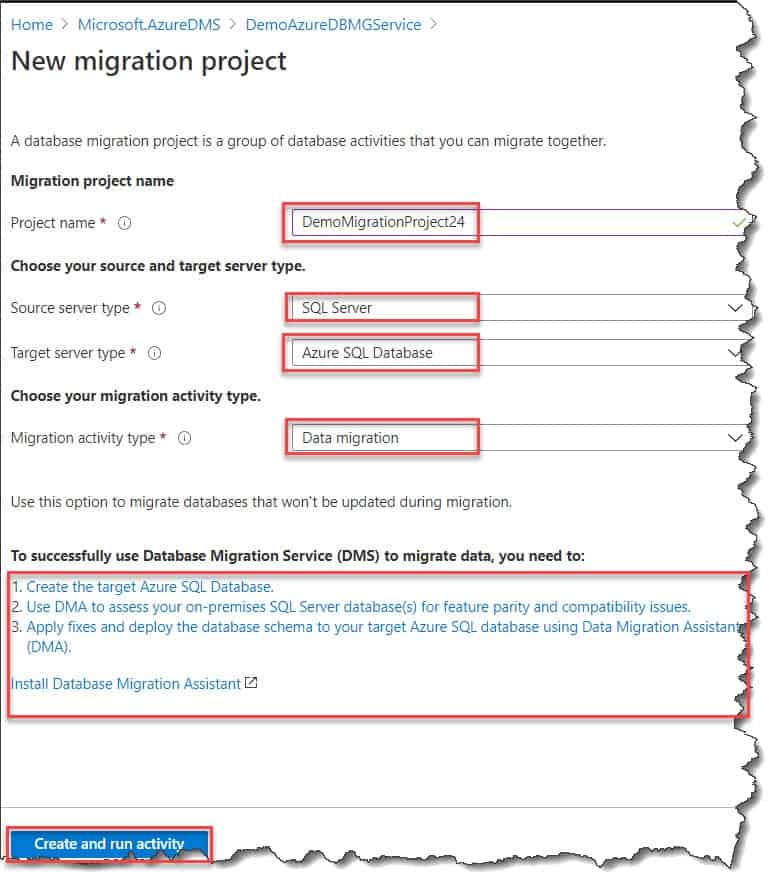 How to Create a New Migration Project Azure Portal