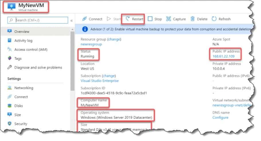 How to restart Azure VM Azure Portal