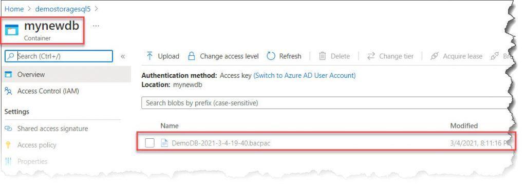 Azure SQL Database (.bacpac) file to SQL Server (.bak) file