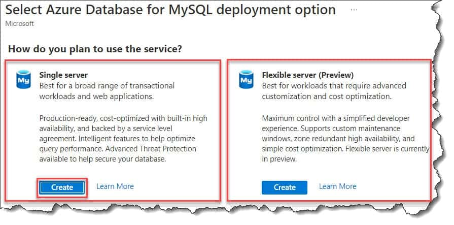 Create Azure Database for MySQL Azure Portal