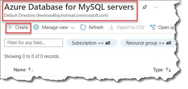 Create Azure Database for MySQL using Azure Portal
