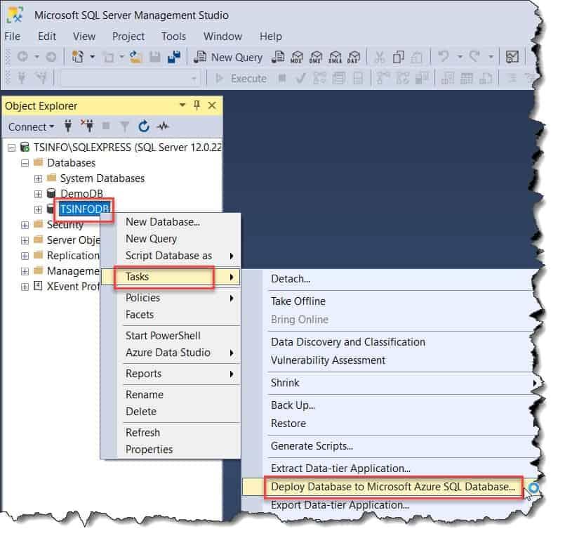 Deploy SQL Database To Azure