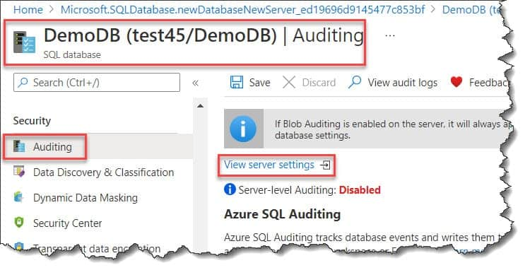 How Is Azure SQL Database Auditing Configured?