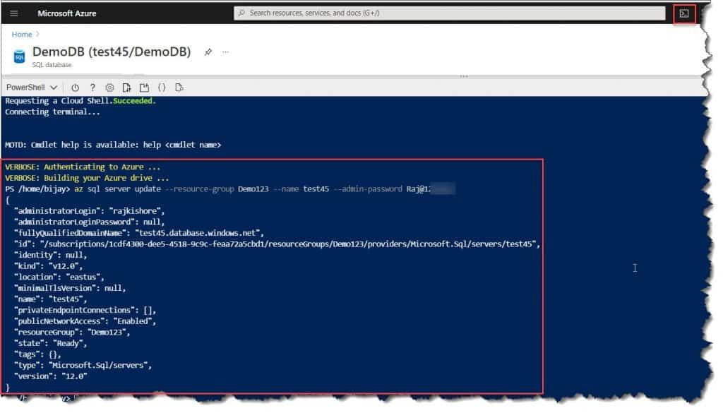 How To Change User Id And Password For Azure SQL Server Database Using Azure CLI