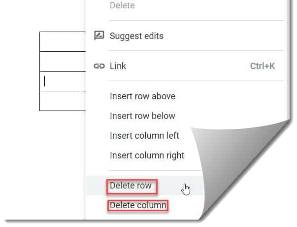 How To Delete A Row and A Column In A Table On Google Docs