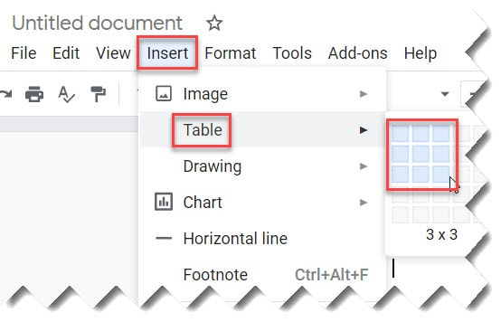 How To Insert A Table On Google Docs