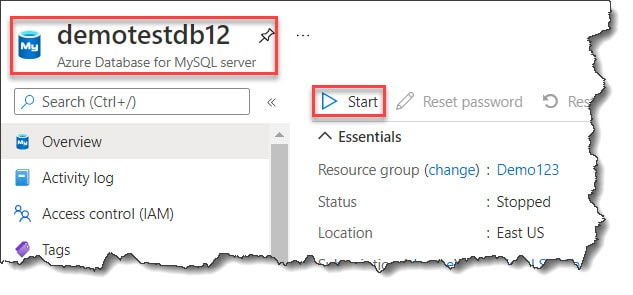 How To Start Azure SQL Database for MySQL