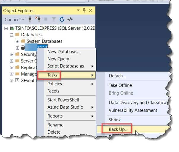 How to create BAK file from azure sql db