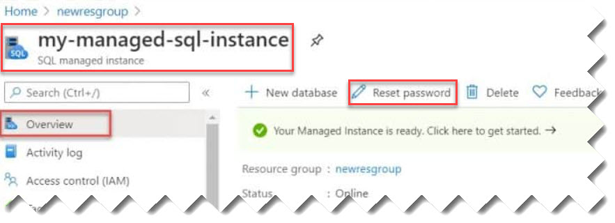 Reset Password For Azure SQL Managed Instance