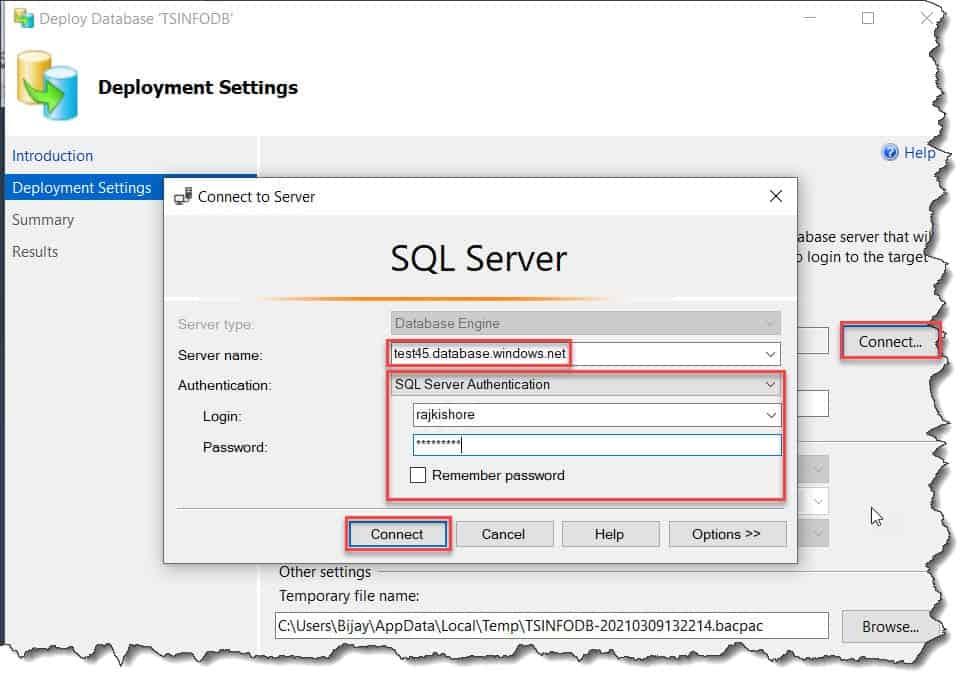 deploy a sql database to azure using sql server management studio