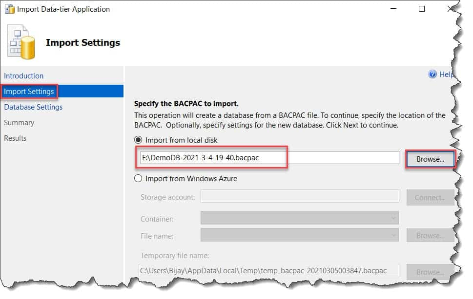 export bacpac file sql server