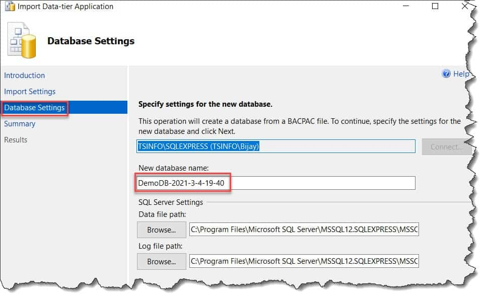 how to restore bacpac file in sql server