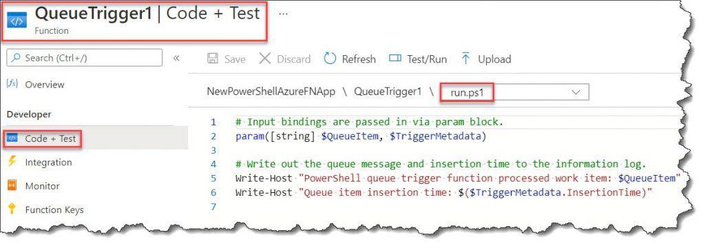 Azure Function PowerShell Queue Trigger