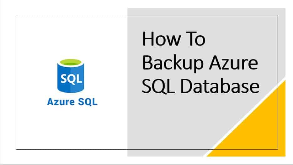 How to backup Azure SQL database