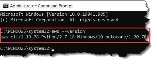 verify AWS installation in windows 10