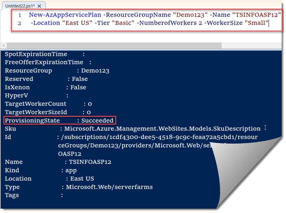 Create App Service Plan Azure PowerShell