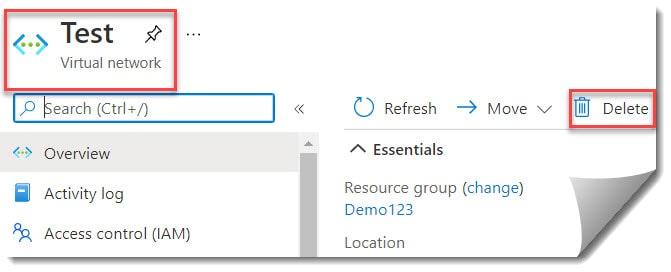Delete a virtual network in Azure