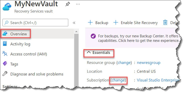 How to move Recovery Services vault to a different Subscription
