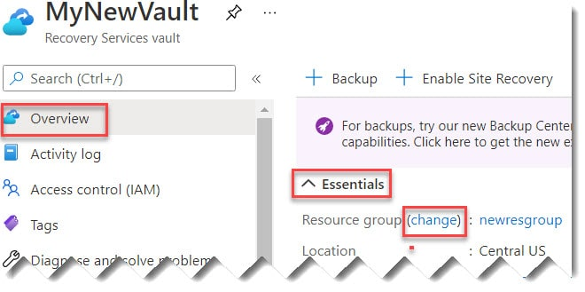 Move Recovery Services vault to different resource group using Azure Portal