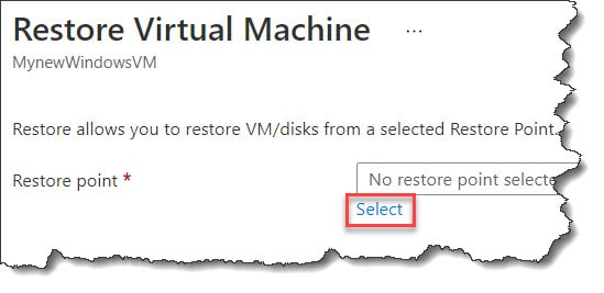 how to restore Azure VM data from the recovery points