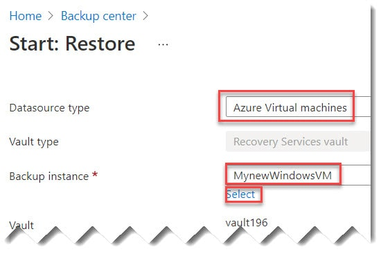how to restore Azure VM