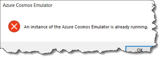 An instance of the Azure Cosmos Emulator is already running