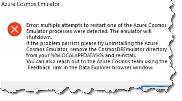 Azure Cosmos DB Emulator not working