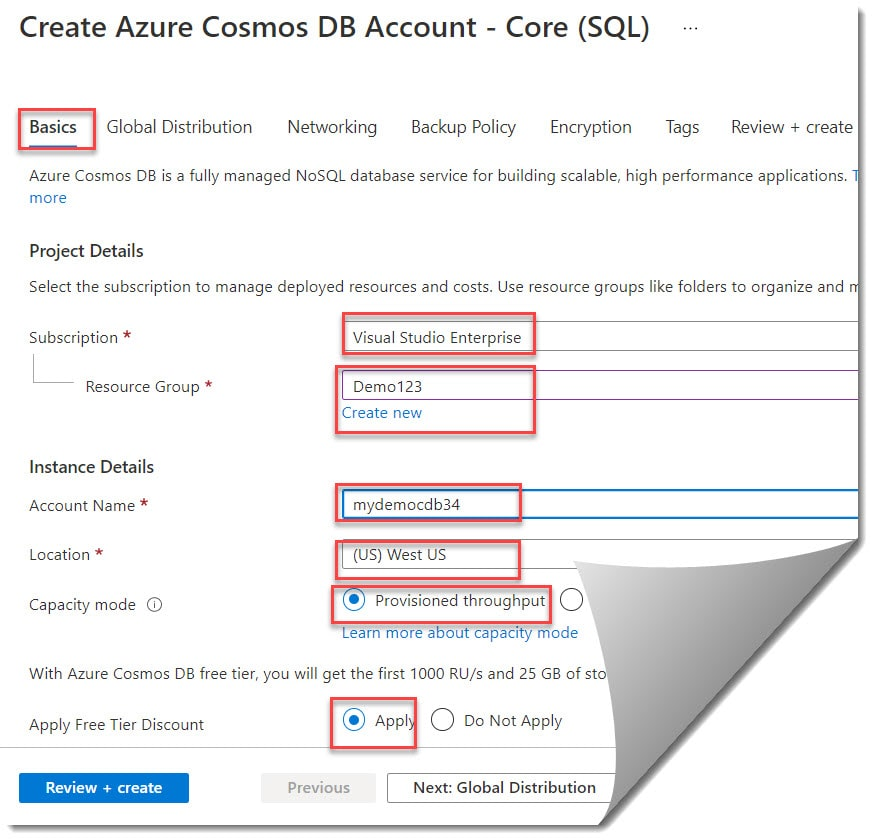 Creating An Azure Cosmos DB Account in Azure Portal