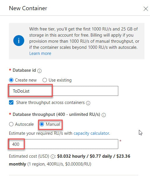 Creating a database and a container in Azure Cosmos DB