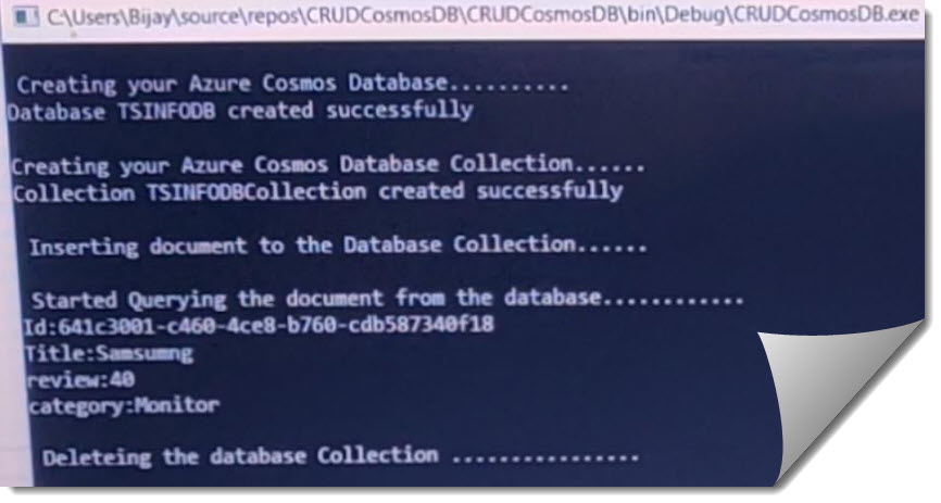How to do CRUD Operations In Azure Cosmos DB
