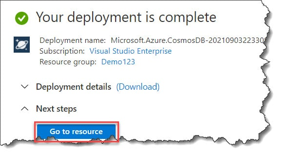 Steps to create Azure Cosmos DB Account