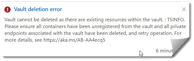 Vault cannot be deleted as there are existing resources within the vault