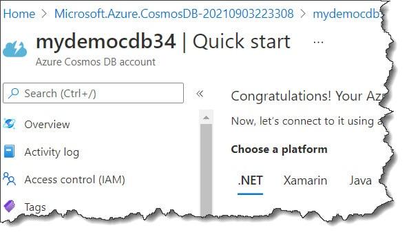 creating an Azure Cosmos DB Account using Azure Portal